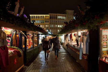 christkindlesmarkt: An aisle at the Stuttgart Christmas market Editorial
