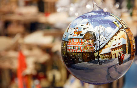 christkindlmarkt: German Christmas village in a Christmas ornament Stock Photo