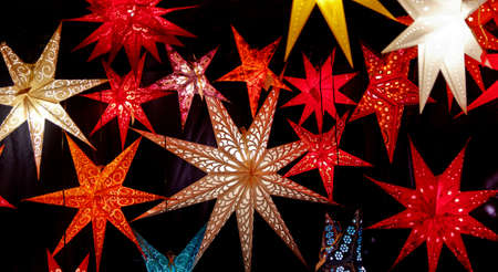 christkindlesmarkt: Colorful illuminated Christmas Stars