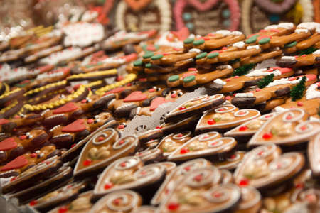 Gingerbread hearts laid out at a Christmas Market