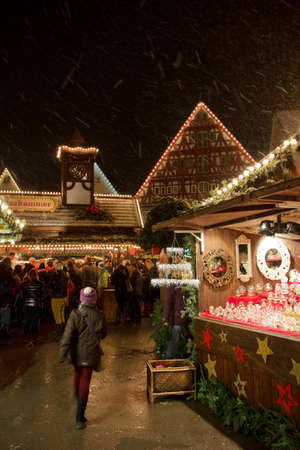 An unidentifiable girl exploring Esslingen Christmas Market