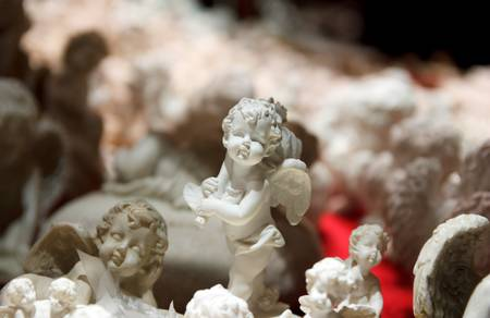 putto: White Angel Ornaments at a Christmas Market