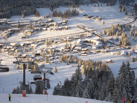 Germany s hightest mountain and skiing resort village Stock Photo - 17309095