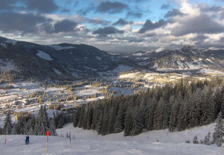 wintersport: Skiing near Oberjoch in the German Alps
