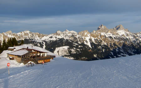 wintersport: December 2012: Sunset over Gundhuette Ski Lodge in Tirol Austria Editorial