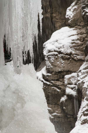 seeping: Water dripping from massive icicles snowy rocks in the background