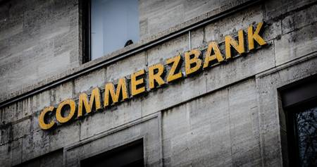 STUTTGART, GERMANY - MAR 2012: A run down sign of a branch of Commerzbank, Germany s second biggest bank