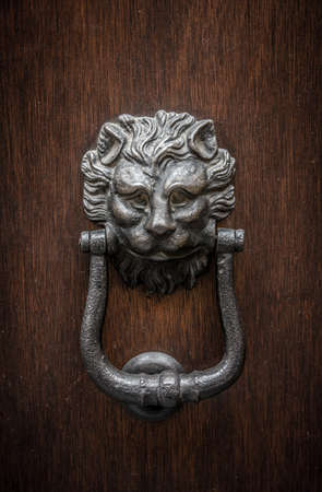 Lion-shaped door knocker on a wooden door in Modena, Emilia-Romagna, Italy photo