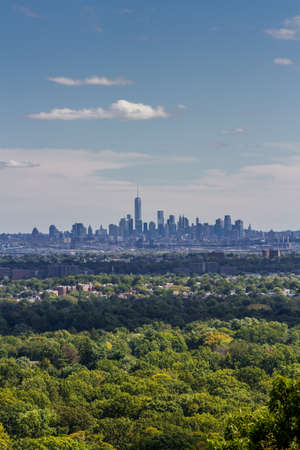 wtc: Skyline of Lower Manhattan as seen from Eagle Rock Park, NJ, on a sunny day Stock Photo