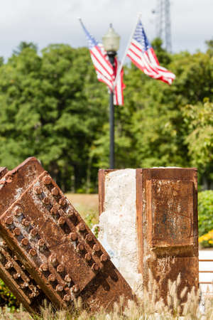 scrap trade: Remnants of the World Trade Center twin towers at the Eagle Rock 9 11 Memorial in New Jersey