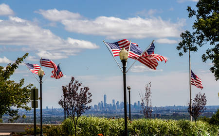 US Flags at the Eagle Rock Park in New Jersey with the Skyline of Lower Manhattan in the background photo