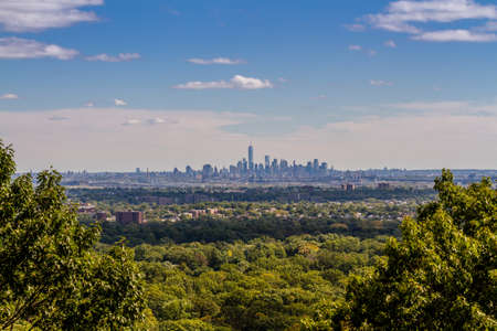 View on Lower Manhatten from the Distance, looking like an Island in the Forests of New Jersey