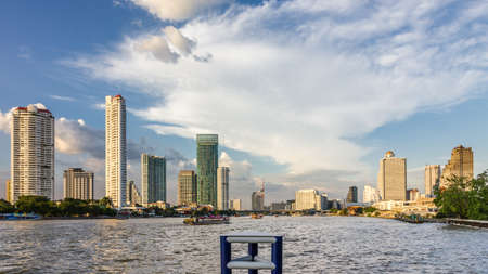 industrialized country: Skyline of Bangkok around the Chao Phraya River