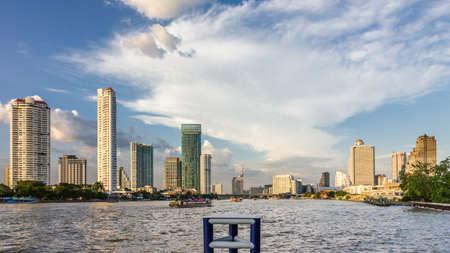 chao phraya river: Skyline of Bangkok around the Chao Phraya River