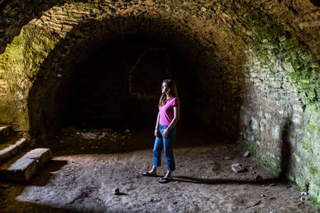 capri pants: Light at the end of the tunnel Stock Photo