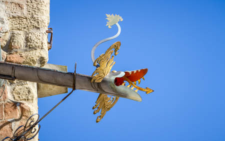 Dragon-shaped rain pipe  gargoyle   photo