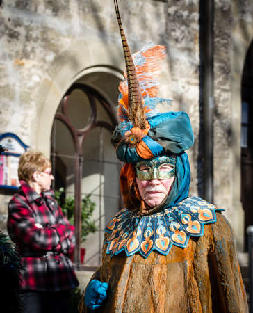 Schwaebisch-Hall, Germany - February 23, 2014 - Senior man, dressed up in a Venetian style costume attends the Hallia Venetia Carnival festival on February 23, 2014 in Schw�bisch-Hall