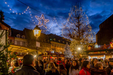 alsace: Crowds at Colmar Christmas Market