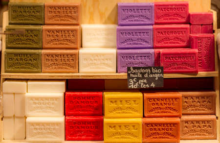 Display of natural soaps at a French market