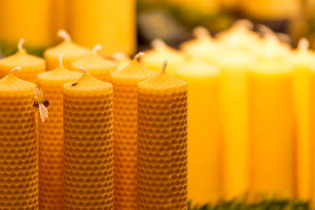 Traditional bee wax candles at a Christmas Market in Germany photo