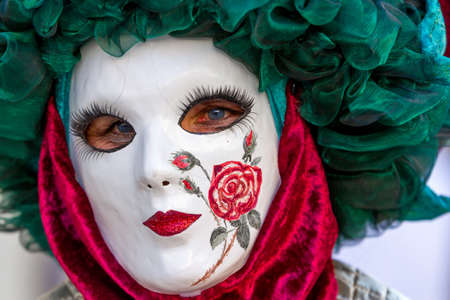 carnevale: Schwaebisch-Hall, Germany - February 23, 2014 - Person, dressed up in a Venetian style costume attends the Hallia Venetia Carnival festival on February 23, 2014 in Schw?bisch-Hall.