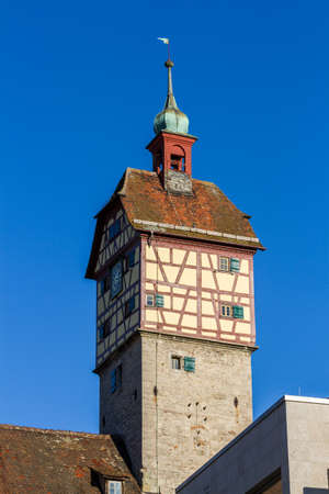 Medieval gate tower in well preserved historical German old town Standard-Bild