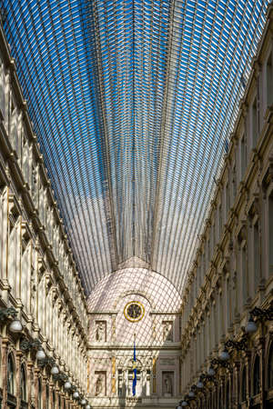 19th century glass roof construction at Galeries Royales Saint-Hubert in Brussels