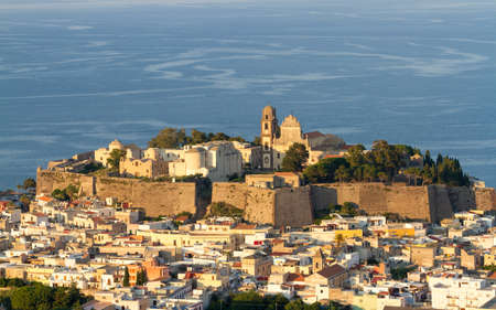 The old town of Lipari, main settlement on the Aeolian Island of the same name, with its citadel surrounded by a city wall
