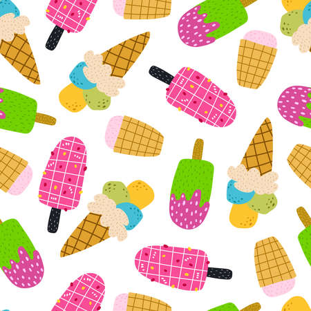 summer seamless pattern with cartoon ice cream. colorful vector for kids, hand drawing flat style. baby design for fabric, print, textile, wrapper
