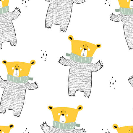 Seamless pattern with cartoon bears, decor elements. Colorful vector flat for kids. hand drawing. baby design for fabric, print, wrapper, textile