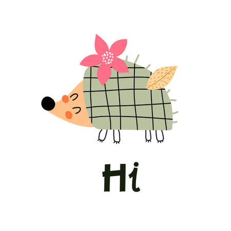 cartoon hedgehog, hand drawing lettering, decorative elements. colorful vector illustration for kids, flat style. Baby design for cards, t-shirt print, poster