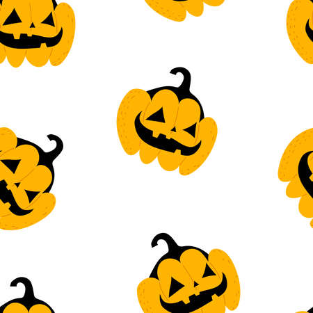 Halloween seamless pattern with cartoon pumpkins. Colorful vector flat style. holiday theme. hand drawing. design for fabric, print, wrapper, textile 矢量图像