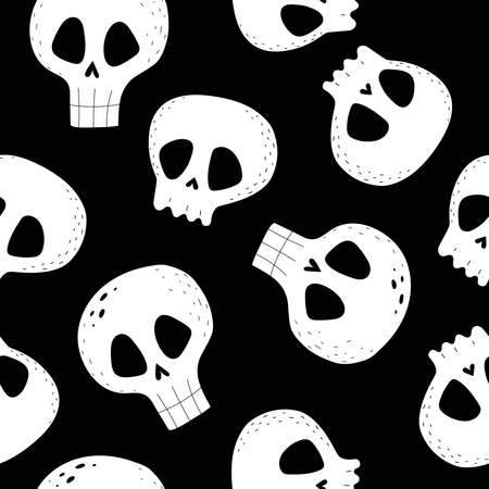 Halloween seamless pattern with cartoon skulls on a neutral background. Colorful vector flat style. holiday theme. hand drawing. design for fabric, print, wrapper, textile