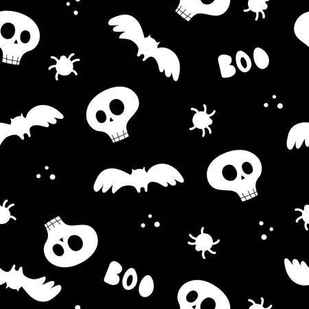 Halloween seamless pattern with cartoon skulls, bats, spider on a neutral background. Colorful vector flat style. holiday theme. hand drawing. design for fabric, print, wrapper, textile