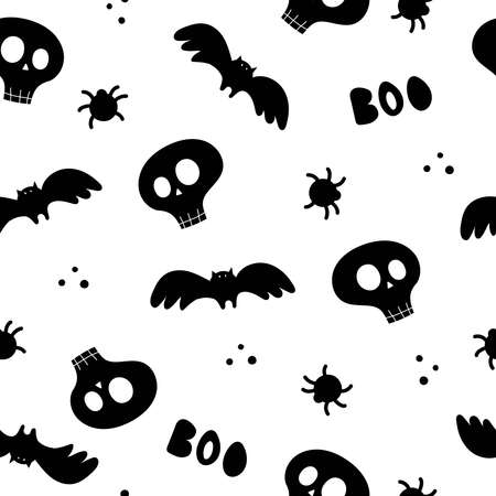 Halloween seamless pattern with cartoon skulls, bats, spider. Colorful vector flat style. holiday theme. hand drawing. design for fabric, print, wrapper, textile Illusztráció