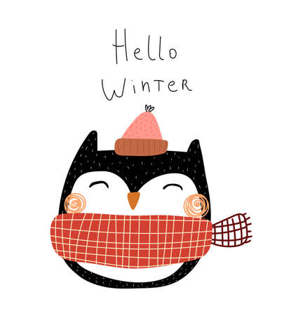 Hello winter. Cartoon owl, hand drawing lettering. holiday theme. Colorful vector illustration, flat style. design for greeting cards, print, poster