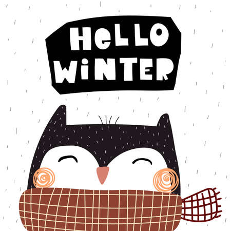 Hello winter. Cartoon owl, hand drawing lettering, decor elements. holiday theme. Colorful vector illustration, flat style. design for greeting cards, print, poster