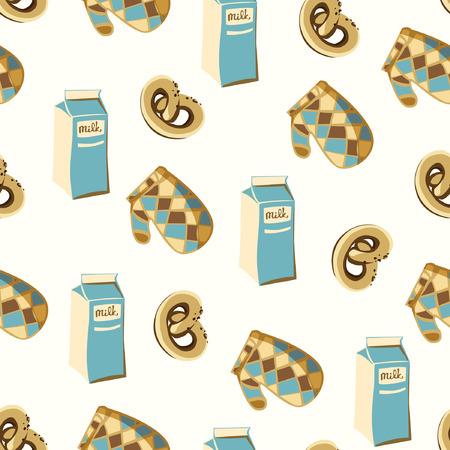 kitchenette: Seamless background with milk, potholder and pretzel. Illustration