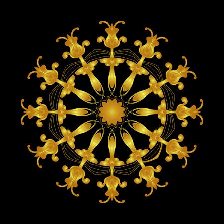 rosette: Gold rosette.