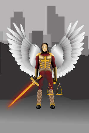 sward: Angel warrior standing with a sward and a scale