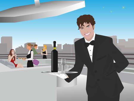 guests: joven camarero sirviendo vino en una terraza en la azotea
