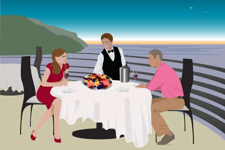 terrace: man and women having dinner on a  terrace