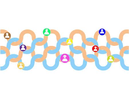 crowdsource: people chain Illustration