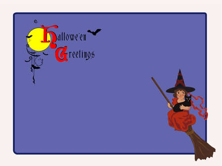 vector illustration of Halloween card with little witch and old decorative font  EPS8  no transparencies   Vector