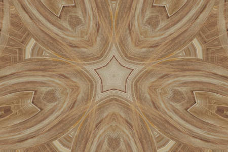 Symmetric uniquelly carefully carved ornament on wood digitally generated