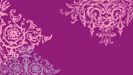 Sophisticated vector pink ornament segment on purple background in art deco style  イラスト・ベクター素材