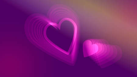 Two pink neon glowing hearts on purple violet background