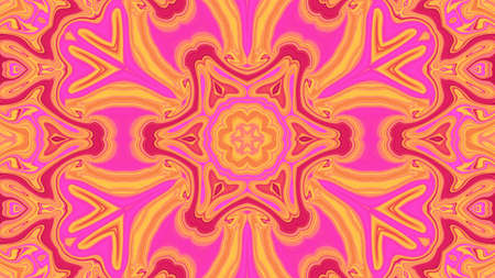 Pink Concentric Flower Center Macro Close-up. Mandala Kaleidoscopic design.
