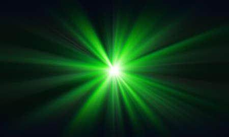 Green laser beam on a dark background