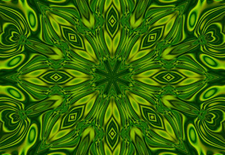 Abstract green background of heart shaped green leaves with kaleidoscope effect